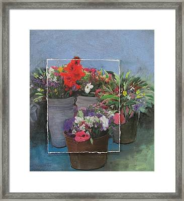Market Flowers In Pails Layered Framed Print by Anita Burgermeister