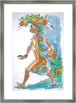 Market Lady Framed Print by Carey Chen