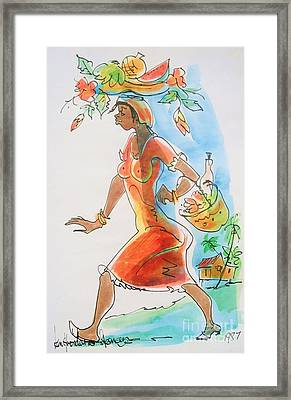 Market Woman Framed Print by Carey Chen