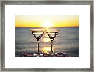 Martinis On Table Outdoors Framed Print by Bill Holden