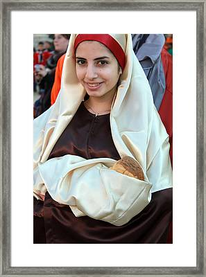 Mary And Baby Jesus At The Christmas March In Bethlehem Framed Print by Munir Alawi