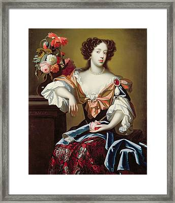 Mary Of Modena  Framed Print by Simon Peeterz Verelst