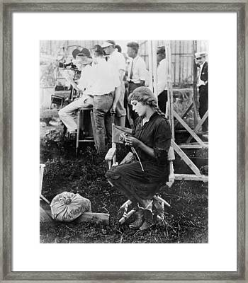 Mary Pickford On A Movie Set Knitting Framed Print by Everett