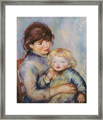 Maternity Or Child With A Biscuit Framed Print by Pierre Auguste Renoir