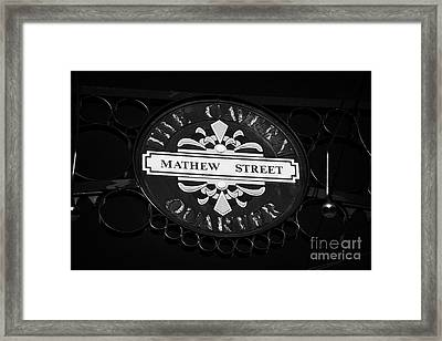 Mathew Street Sign In The Cavern Quarter In Liverpool City Centre Birthplace Of The Beatles Framed Print by Joe Fox