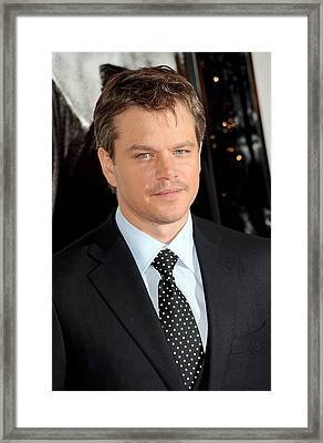 Matt Damon At Arrivals For Green Zone Framed Print by Everett