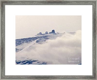 Mauna Kea Observatories With Snow Framed Print by Bette Phelan