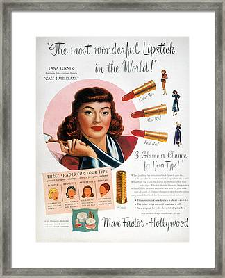 Max Factor Lipstick Ad Framed Print by Granger