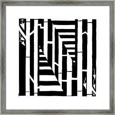 Maze Of The Letter N Framed Print by Yonatan Frimer Maze Artist