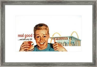 Mcdonalds Restaurant Advertisement Framed Print by Everett