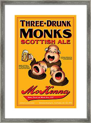 Mckenna Three Drunk Monks Framed Print by John OBrien
