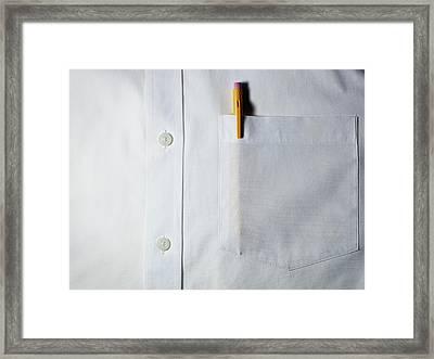 Mechanical Pencil In White Shirt Pocket. Framed Print by Ballyscanlon