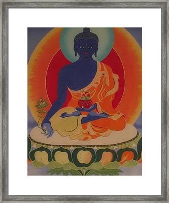 Medicine Buddha Framed Print by Elisabeth Van der Horst