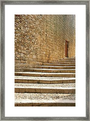 Medieval Stone Steps With One Doorway At The Top. Framed Print by Tracy Packer Photography