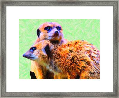 Meerkats . 7d4176 Framed Print by Wingsdomain Art and Photography