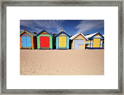 Melbourne Beach Huts In Australia Framed Print by Timphillipsphotos