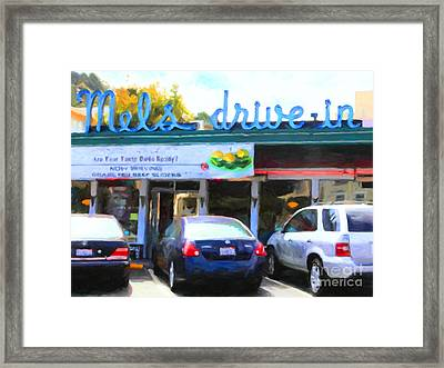 Mel's Drive-in Diner In San Francisco - 5d18014 - Painterly Framed Print by Wingsdomain Art and Photography