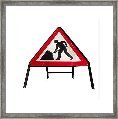 Men At Work Sign Framed Print by Kevin Curtis