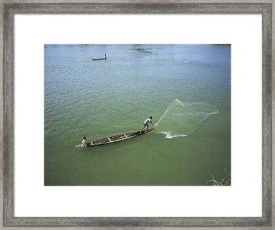 Men Fishing, Laos, Asia Framed Print by Bjorn Svensson
