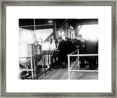 Men Wait In Line For Food Framed Print by Everett