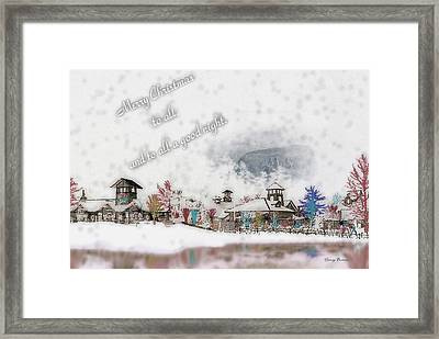 Merry Christmas - Stone Mountain Snowfall Art 4x6  Framed Print by George Bostian