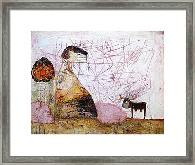 Mess Is Thinking.... Framed Print by Apple Vail
