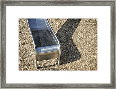 Metal Playground Slide In A Playground Framed Print by Bryan Mullennix
