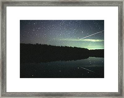 Meteor Over Lake Framed Print by Pekka Parviainen