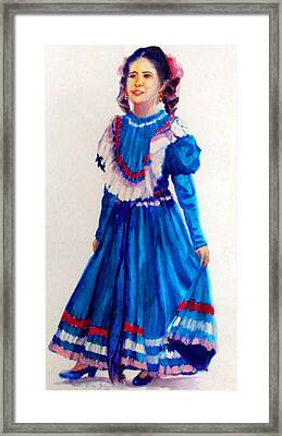 Mexco Srta In Blue Framed Print by Estela Robles