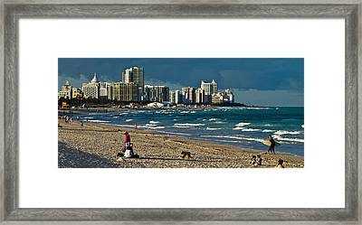 Miami Beach Afternoon Skyline  Framed Print by Andres Leon