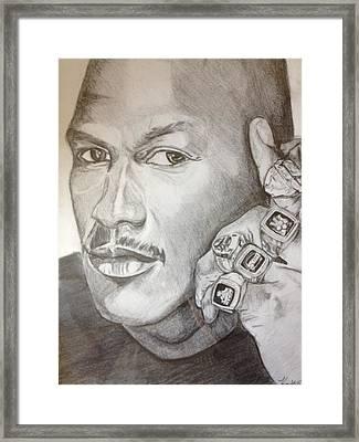 Michael Jordan Six Rings Legacy Framed Print by Keith Evans