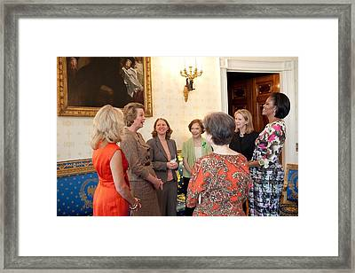 Michelle Obama And Jill Biden Framed Print by Everett
