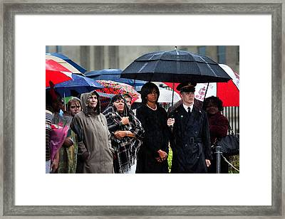 Michelle Obama Attends A Wreath Laying Framed Print by Everett
