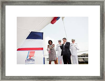 Michelle Obama Christens The Us Coast Framed Print by Everett