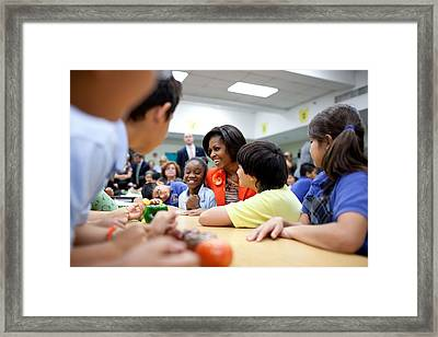 Michelle Obama Joins Students Framed Print by Everett