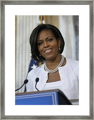 Michelle Obama Visited The Treasury Framed Print by Everett