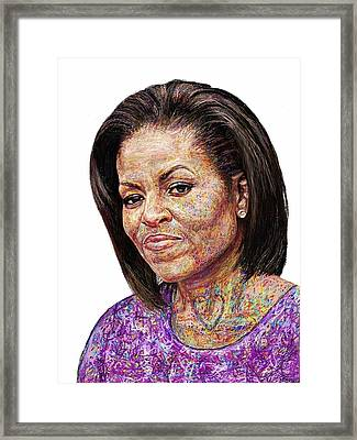 Michelle Obama With An Ipad Framed Print by Edward Ofosu