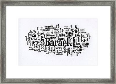 Michelle Obama Wordcloud At D N C Framed Print by David Bearden