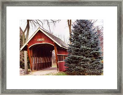 Michigan Red Covered Bridge Nature Landscape Framed Print by Kathy Fornal