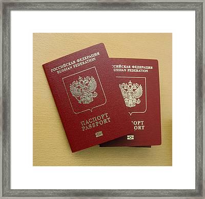 Microchipped Passports, Russia Framed Print by Ria Novosti