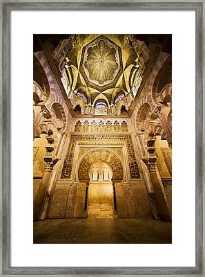 Mihrab And Ceiling Of Mezquita In Cordoba Framed Print by Artur Bogacki