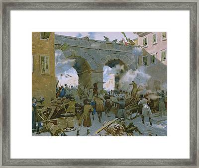 Milanese Chasing Out Austrians Framed Print by Italian School