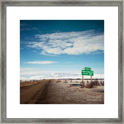 Milepost At The Dempster Highway Framed Print by Priska Wettstein