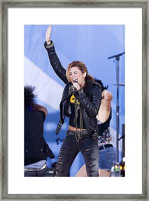 Miley Cyrus On Stage For Good Morning Framed Print by Everett