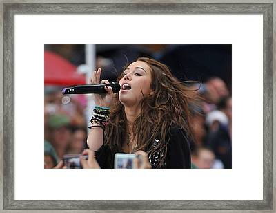 Miley Cyrus On Stage For Nbc Today Show Framed Print by Everett
