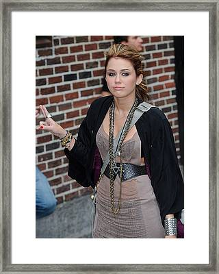 Miley Cyrus, Visits Late Show With Framed Print by Everett