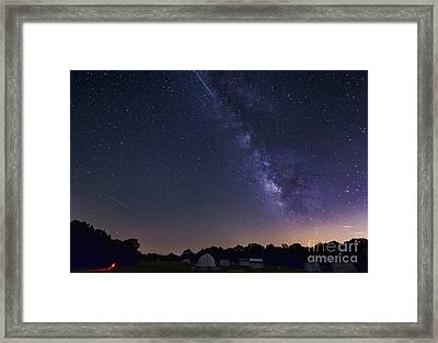 Milky Way And Perseid Meteor Shower Framed Print by John Davis