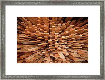 Milled Wood Planks In A Stack, Europe Framed Print by Flip De Nooyer