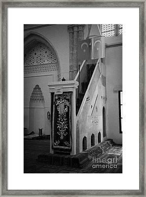 Mimbar Pulpit In Lala Mustafa Pasha Mosque Framed Print by Joe Fox