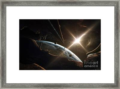 Mining Colony On An Asteroid Framed Print by Tobias Roetsch